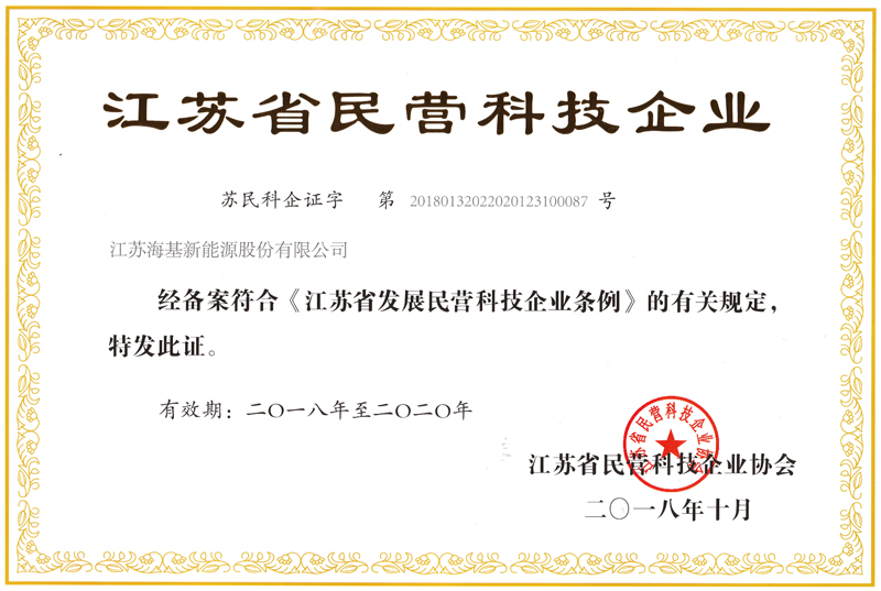 Certificate of Private Technology Enterprise in Jiangsu Province